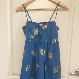 Yumi Kim blue gold floral dress XS